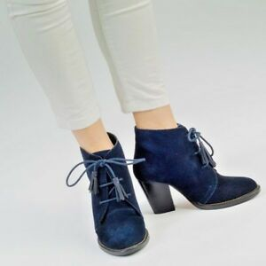 Womens Heeled Navy Blue Leather Suede