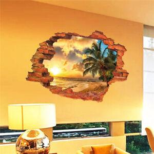 3D-Broken-Wall-Sunset-Wall-Sticker-Seascape-Island-Coconut-Trees-Home-Decal