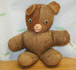 9e23b64be81 VINTAGE ANTIQUE PLUSH TEDDY BEAR STUFFED WIND RUBBER NOSE MOUTH 15 ...