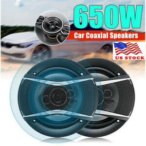 2PCS 6 inch 650W Car HiFi Coaxial Speaker Door Audio Music Stereo Full Range US