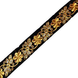 1-Yd-Fabric-Women-Dressmaking-Sari-Border-Black-Sewing-Lace-Ribbon-Fabric-Trim