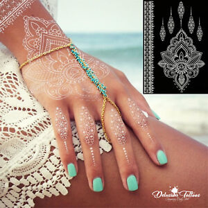 Temporary Tattoo White Henna Lotus Flower Pendant Lace Hand
