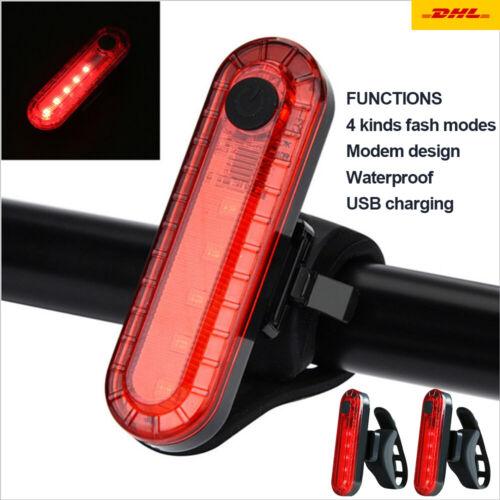2 Stück Fahrrad Rücklicht COB LED Warnlicht Lamp Mit USB Aufladbare 500Mah Akku