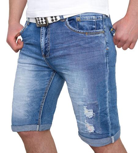 Uomo Shorts Pantaloni Jeans Pantaloni Corti Bermuda Short Estate destroyed h-082