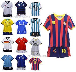 Nuevo-Nino-Nina-Verano-Futbol-Camiseta-Kit-Corto-Conjunto-Talla-Edad-2-12-Anos