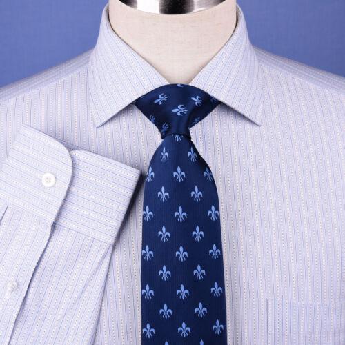 Blue Designer Striped Formal Business Dress Shirt Egyptian Cotton Luxury Style