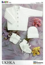 Ukhka 35 Prem Baby Jacket Hat Mitts Bootees 4ply Knitting Pattern