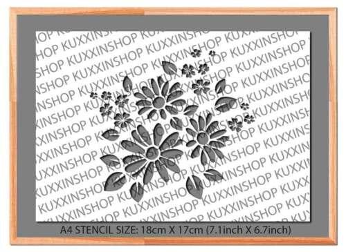 Flowers Bunch A5 A4 A3 Mylar Reusable Stencil Airbrush Art Paint #15A