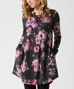 Grau-Blumenmuster-Top-Groesse-8-Damen-Damen-Lange-Tunika-mit-Taschen-und-langen-Armeln