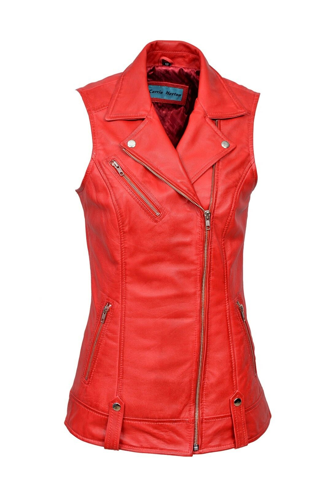 Luxury New Ladies Biker Waistcoat Red Real Nappa Leather Casual Style Design