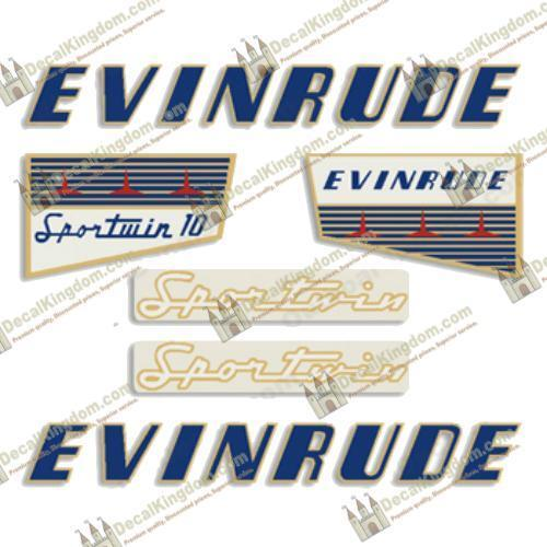 Evinrude 1956 10hp Outboard Decal Kit 3M Marine Grade