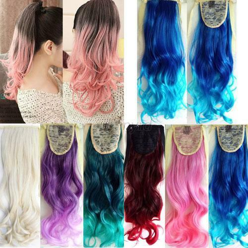 "Ombre Mix Color 20"" 53cm Long Wavy Curly Ponytail Hair Extension Hairpiece J44"
