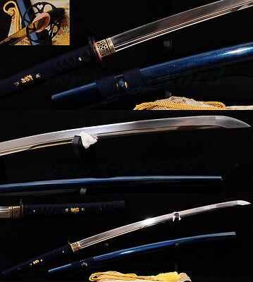 Japanese Samurai Sword Katana 1095 Carbon Steel Iron Tsuba Double Blood Groove
