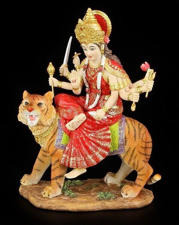 Durga Figur bunt reitet auf Tiger - Hindu Göttin Buddha