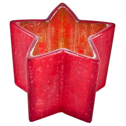 Photophore lumignons support étoile verre 10x13x13cm rouge mat beau Noël