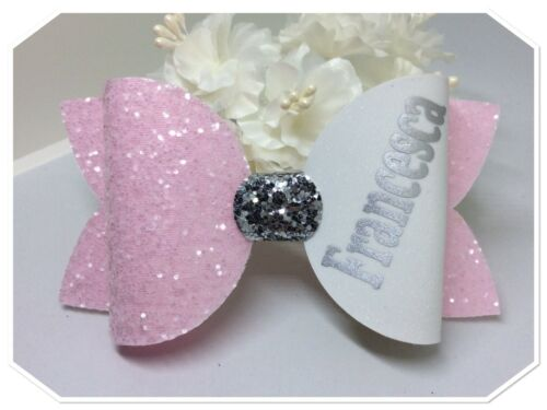 Girls  Pink Personalised  Glitter Fabric Hair Bow Clip School Hair Bow