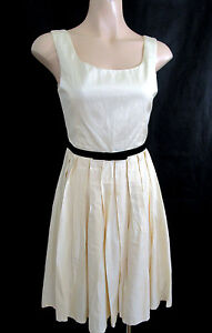 Forever-New-Cream-Sateen-Pleated-Dress-Size-10