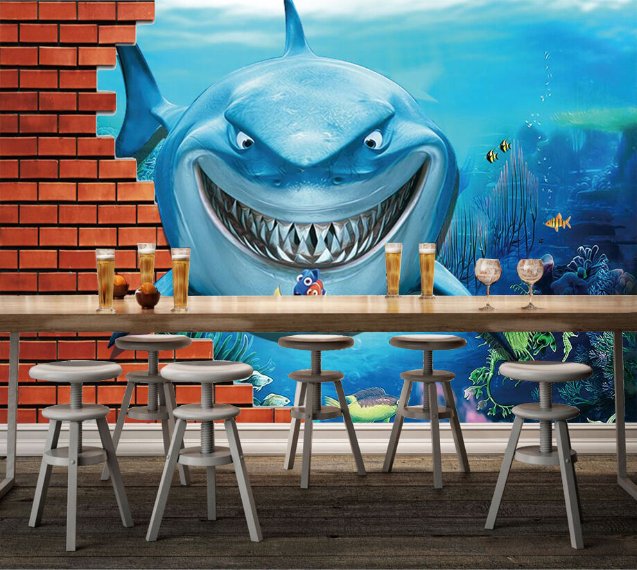 3D Funny Shark 42 Wall Paper Wall Print Decal Wall Deco Indoor AJ Wall Paper