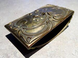 antique INK BLOTTER ROCKER Art Nouveau FLORAL MOTIF desk accessory French