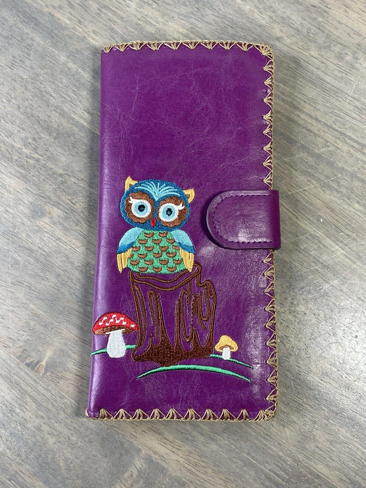LAVISHY Owl and Mushrooms EMBROIDERED LARGE WALLET VEGAN FAUX LEATHER Purple