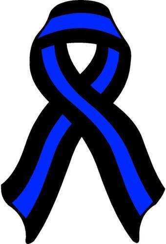 Thin Blue Line Ribbon Decal Law Enforcement Memorial Police Vinyl Sticker Cop V