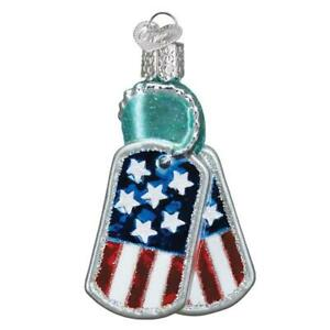 Old World Christmas MILITARY TAGS (36293)N Patriotic Glass Ornament w/Owc Box