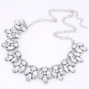 Clear-Rhinestone-chunky-bib-choker-statement-vintage-Wedding-Party-Necklace