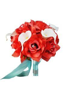 Artificial Keepsake Bouquet Dia8 Deep Coral Open Roses Calla