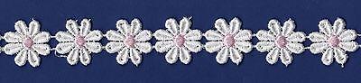 Daisy Guipure Lace 25mm Motifs White/Pink White/Lemon SLGU1057/58.