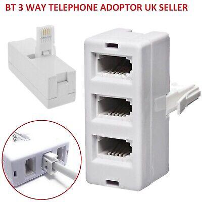 3 way BT Telephone Splitter Triple Socket Y Adapter