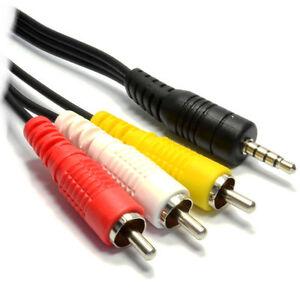 35mm 4 Pin Jack Plug To 3 Triple X Phono Phonos Av Out Lead Tv