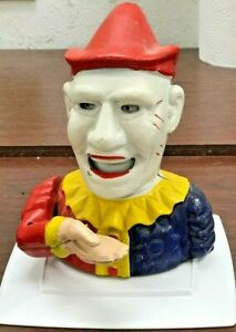 Vintage Cast Iron Clown Bank Made In