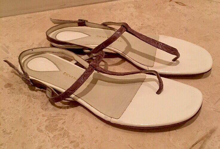 DEVI KROELL Purple Real Real Real Crocodile Skin Flat Sandals Worn Only Once EU 39.5  24ecd8