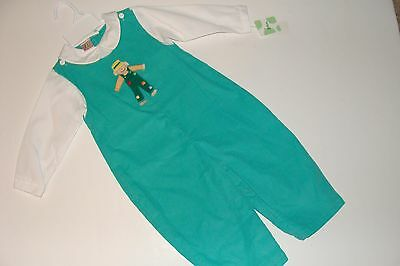 ZU Petit Ami Outfit Boys Size 24 Months Green White Scarecrow Longalls NEW NWT