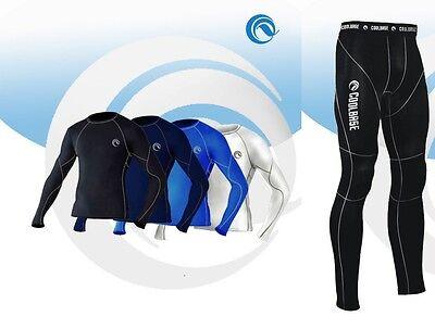Da Uomo Coolbase Compressione Layer Di Base Termica Camicia Top Manica Lunga Leggings Pelle-