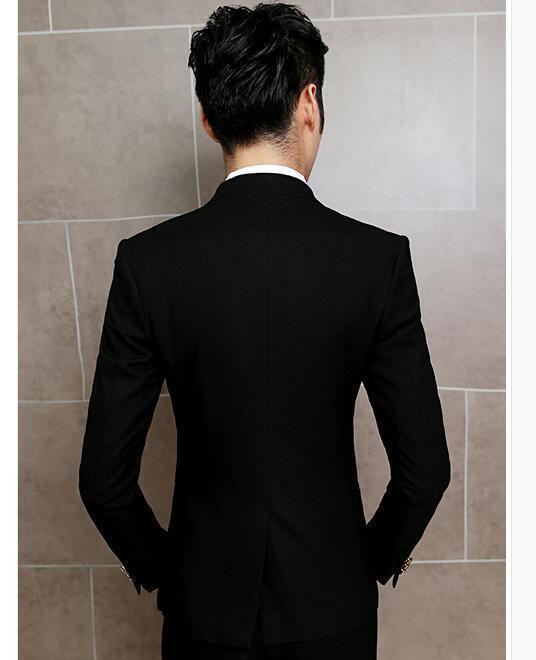 Uomo's 2Pcs Cappotto Pantaloni Pantaloni Cappotto Stand Collare Tuta SLIM FIT VESTITO FORMALE MATRIMONIO Blazer @SY f118c3