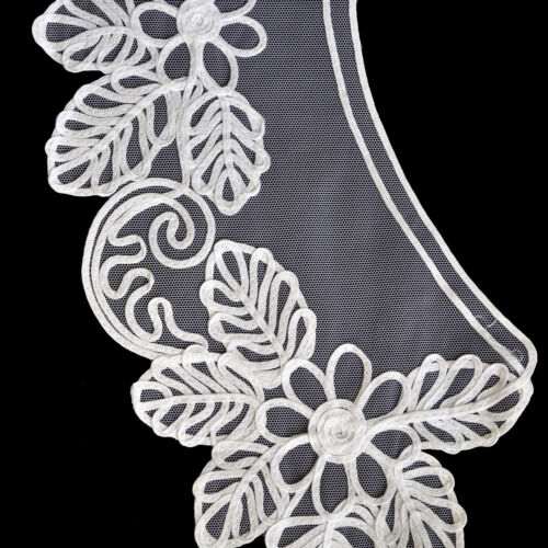 15.5 x 5.5 White and Ivory Tulle Soutache Bodice Collar Braid by Pair