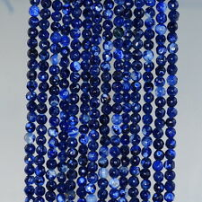 "4MM  AGATE GEMSTONE DARK BLUE FACETED ROUND LOOSE BEADS 15"""
