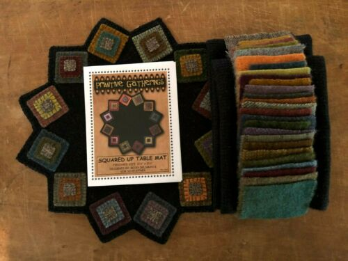 """WOOL APPLIQUE KIT /""""SQUARED UP TABLE MAT/""""  KIT BY VILLAGE WOOL"""