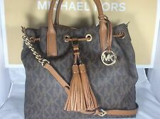 NWT Authentic Michael Kors Brown PVC Camden Large Drawstring Satchel Bucket Bag