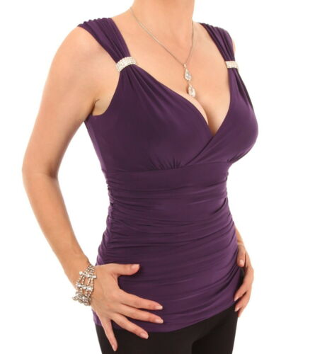 V Neck New Crystal Diamante Ruched Evening Top