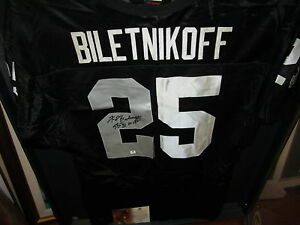 new styles 4bf03 f9749 Details about Fred Biletnikoff signed Oakland Raiders Football Jersey w/  Inscription SBXI MVP