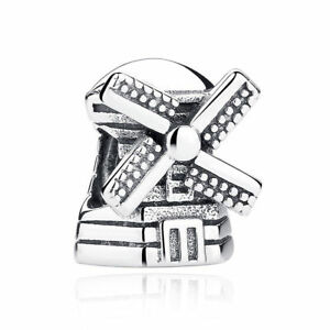 VOROCO-Dutch-Windmill-S925-Sterling-Silver-Charm-Beads-Bracelet-For-Ladies-Chain