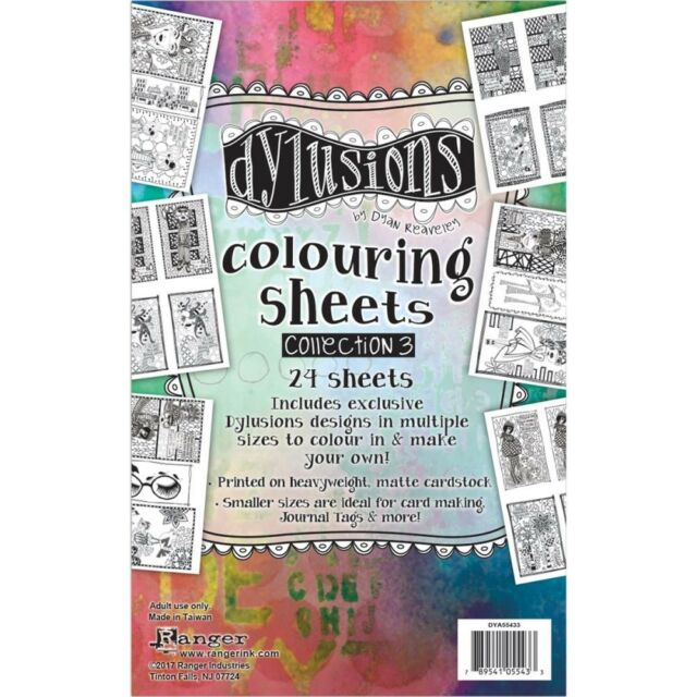 """Dyan Reaveley's Dylusions Coloring Sheets - 5""""X8"""" - #3"""