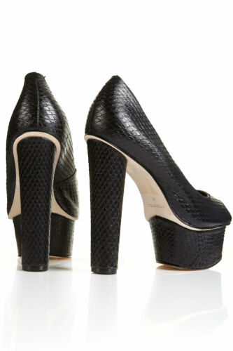 6 Black 39 Animal Peep Topshop Leather Heels £ Toe Snakeskin 100 Pout Platform Tzqw4xS