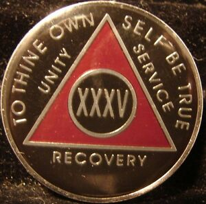 Red AA Alcoholics Anonymous 35 Year Medallion Token Chip Coin Sobriety Sober
