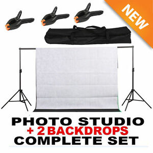 10 ft Photography Black + White Screen Studio Muslin Photo Kit Background Stand~