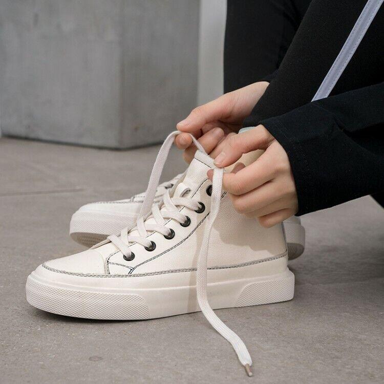 Femmes Plat Décontracté À Lacets Haut Top Blanc FASHION FASHION FASHION baskets en cuir chaussures de sport 89d01c