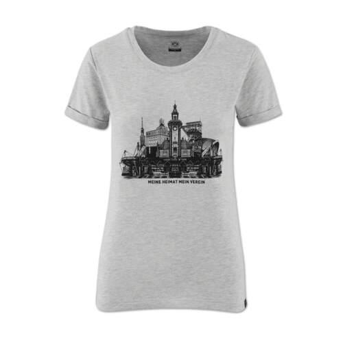 Frauen Grau Silbergrau Borussia Dortmund ORIGINAL BVB-Skyline T-Shirt f
