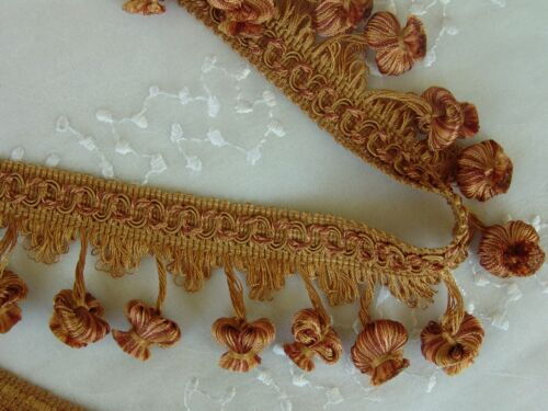 "2 1//4/"" BRONZE//GOLD Mushroom Style Rayon Tassel Fringe Trim Pillows Drapery ~ BTY"